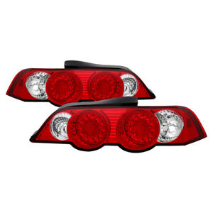 Fit Acura 02-04 RSX Red & Clear LED Rear Tail Brake Light Set Base L Type-S