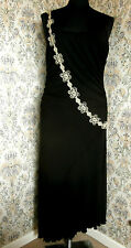 Black jersey like party dress by PER UNA Size 14 - 16 String effect adornment