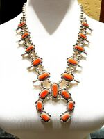 "FABULOUS 24"" 925 STERLING SILVER CORAL NAVAJO SQUASH BLOSSOM NECKLACE - 126G"