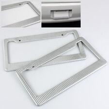 2 x Anteriore/Retro Argento Fibra di Carbonio Stile Effetto Wrap Targa Cover