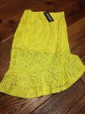 Boohoo Yellow Lace Skirt Frill Ruffle Peplum Midi Skirt Size Small Brand New