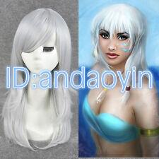 Disney Princess Kida Cosplay Wig Long Silver White Straight Full Wigs + A Cap