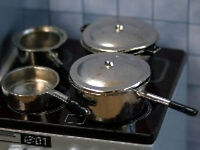 Pans Set Silver, Dolls House Miniatures, Kitchen Accessory, 1.12th Scale