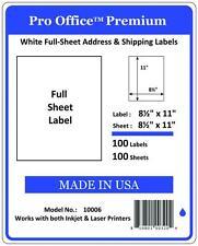 PO06 100 Premium Shipping Labels Self Adhesive FULL SHEET 8.5 x 11 PRO OFFICE