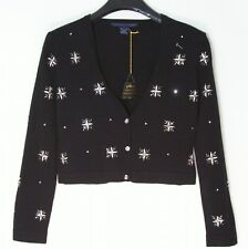NWT Catherine Stewart Bellepoint Cropped Crystal Bead Black Cardigan Sweater S