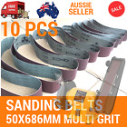 10X Sanding Belts 50x686mm Cloth Backed Mixed Grit Linisher Sander Bench grinder