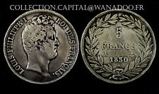 5 Francs 1830A (Paris) Louis Philippe l°. Argent. TB:75
