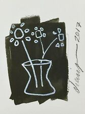 """Flower Drawing #3 by Diane Green 2017 Black & White Ink on Paper approx. 4"""" x 6"""""""