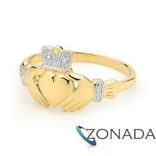CLADDAGH Diamond 9ct 9k Solid Yellow Gold Ring Size P 7.75 25116