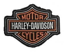 Harley-Davidson Genuine Orange Bar & Shield Frayed Emblem Patch, 4 x 3 inches