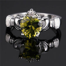 Fashion 925 Silver green Sapphire Crown Wedding Engagement Claddagh Ring Size 5