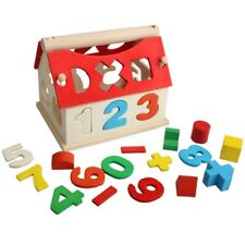 1pc Baby Educational Toys Wood House Building Intellectual Developmental mode