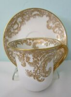 Haviland Limoges Gilt Floral Lace Pattern White China Demitasse Cup Saucer EUC