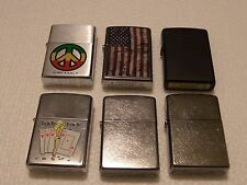 6 ZIPPO LIGHTER LOT PEACE AMERICAN FLAG LADY LUCK & MORE WAS $80