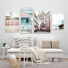 Pink Beach Canvas Poster Landscape Wall Art Print Picture Nordic Home Decoration