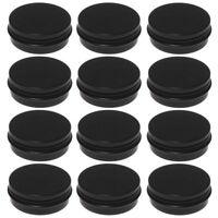 12Pcs 1Oz Black Aluminum Tin Jars Round Screw Lid Containers Empty Metal St N8X8