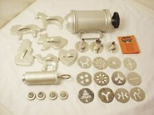 Vtg Aluminum COOKIE PRESS SET MIRRO Mini Decorator 6 Cookie Cutters Free Ship