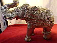 Silver Elephants Vintage Carved Vintage Indian Oriental Animal Large 35cm 2.5kg