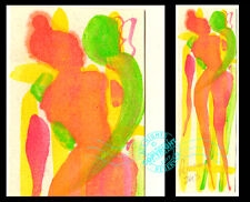 """#32 Embrace """"Fairy Lovers Tell Secrets"""" Original Watercolor PAINTING Making love"""