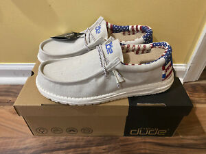 Hey Dude Shoes Men's Wally Patriotic American Flag Off-White Red Blue Size 10 14