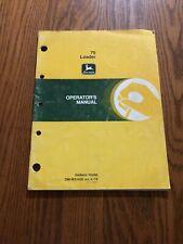 JOHN DEERE 75 TRACTOR LOADER OMW21459 OPERATORS MANUAL BOOK