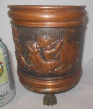 Vtg CHERUB ANGEL Copper Planter Vase Belgium Hand Embossed Telescope Globe