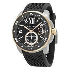 Cartier Calibre de Cartier Black Dial Black Rubber Mens Watch W7100055