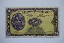 More details for central bank of ireland fifty £50 pound banknote 08a051108 4.4.77 roughish