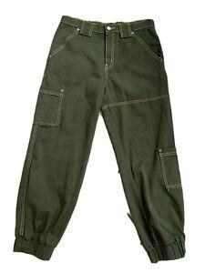 BDG Urban Outfitters NEW! Olive Khaki Green High Rise Denim Jogger Pants Sz 29