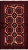 Geometric Traditional Balouch Afghan Oriental Area Rug Wool hand-Knotted 3x6 ft
