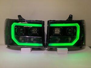 2007-2013 GMC Sierra Pre-Built Headlights LED pod and RGB tubing