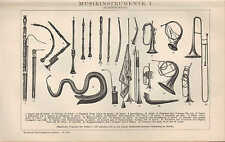 Lithografie 1904: MUSIK-INSTRUMENTE I-III. Tasten-Zupf-Blas-Saiten-Schlag-Blech