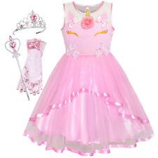 US STOCK! Girls Dress Pink Unicorn Dress Up Princess Crown Size 4-10