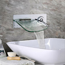 Basin Mixer Tap Modern Wall Mounted Single Lever Chrome Glass Waterfall Spout