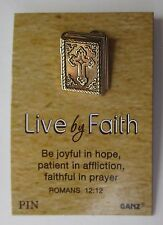 s Gold Bible be joyful in hope  scripture jewelry LIVE By FAITH lapel tack pin
