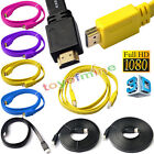 1.5/3/5m Premium Flat HDMI Cable V1.4 3D 4K 1080 HD Audio Gold Plated High Speed