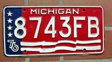 1976 MICHIGAN Bicentennial License Plate /  8743FB