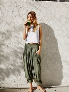 NWT FREE PEOPLE MOVEMENT Sz L SILVER LININGS HAREM HIGH RISE JOGGER PANT GREEN