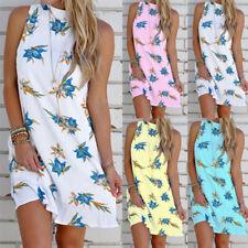 Summer Women Floral Sleeveless Button Mini Dress Casual T Shirt Tank Sundress