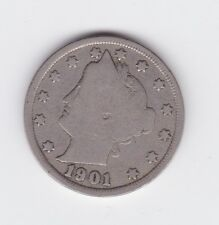 1901 United States of America 5 Cents Liberty Nickel half dime Coin P-327
