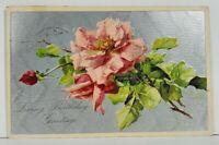 Lovely Pink Rose Birthday Greetings Embossed Silvertone Finish Postcard M18