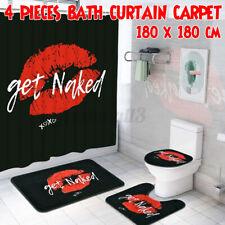 Get Naked Printing Bathroom Shower Curtain Set Toilet Cover Non-Slip Mat Rug Kit