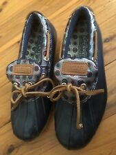 Sperry Top-Sider Womens Navy Low Top Duck Boots Waterproof Shoes Size 7 Slip On