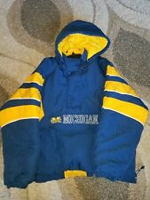 Vintage 90s MICHIGAN WOLVERINES STARTER PULL OVER  JACKET XXL EUC