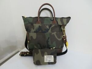 R.Riveter Carry All Canvas Tote Leather Trim & Pouch Otto CAMO New