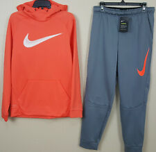 NIKE SWOOSH SWEATSUIT HOODIE + PANTS THERMA-FIT ORANGE GREY RARE NEW (SZ MEDIUM)