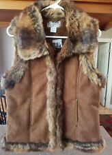 LADIES BACK IN THE SADDLE GLENROCK FAUX SUEDE FUR TRIM VEST BROWN SIZE S NWT