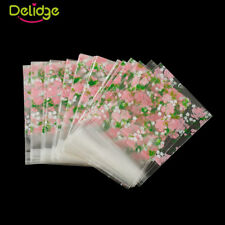 100pcs Self Seal Adhesive Rose Flower Plastic Cellophane Candy Gift Bags 7*7cm