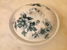 Vintage SAMUEL FORD Burslem England White Blue Covered Dish
