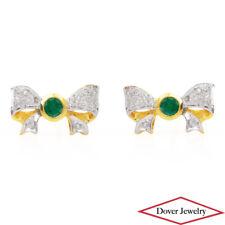 Estate Diamond 0.42ct Emerald 18K Gold Bow Stud Earrings NR